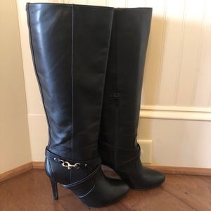 Coach Milly Tall Black Leather Boot with Zipper